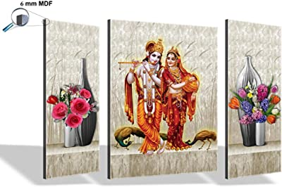 SAF 6MM Radha Krishna Set of 3 Panel Digital Reprint 12 inch x 18 inch Painting (SAJM7533) SANFJM7533