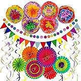 Zerodeco Decoración de la Fiesta, 21 Piezas Abanicos de Papel Bola de Nido Pom Poms Ventilador Cumpleaños Boda Carnaval Bebé Ducha Home Party Supplies Decoración (Multi B)