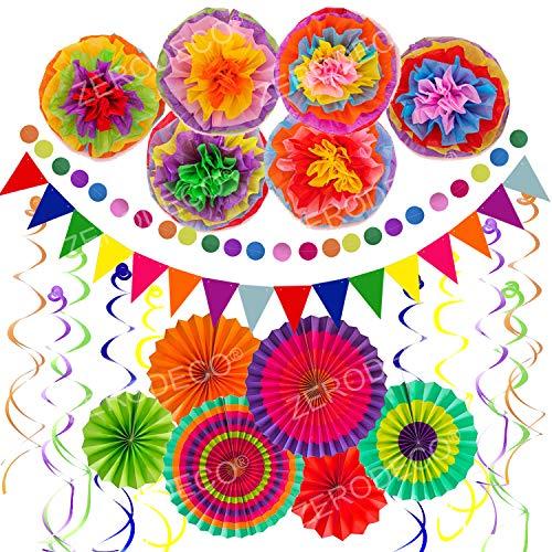 Zerodeco Decorazione di Festa, 21 Pezzi Ventilatori di Carta, Pompons, Bandierine Triangolare, Ghirlande (Multi B)