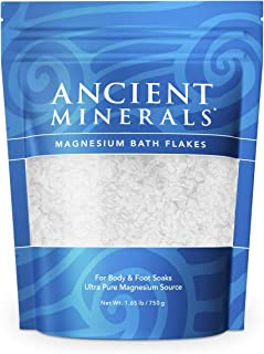 Ancient Minerals Magnesium Bath Flakes of Pure Genuine Zechstein Chloride - Resealable Magnesium Supplement Bag That Will Outperform Leading Epsom Salts (26.4 Ounce)