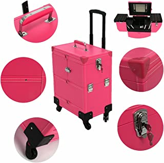 Rolling Makeup Case Leather Professional Nail Artist Beauty Makeup Train Case Trolley Cosmetic Organizer Box Lift Handle with Mirror & 360-degreed 4-wheel, 14
