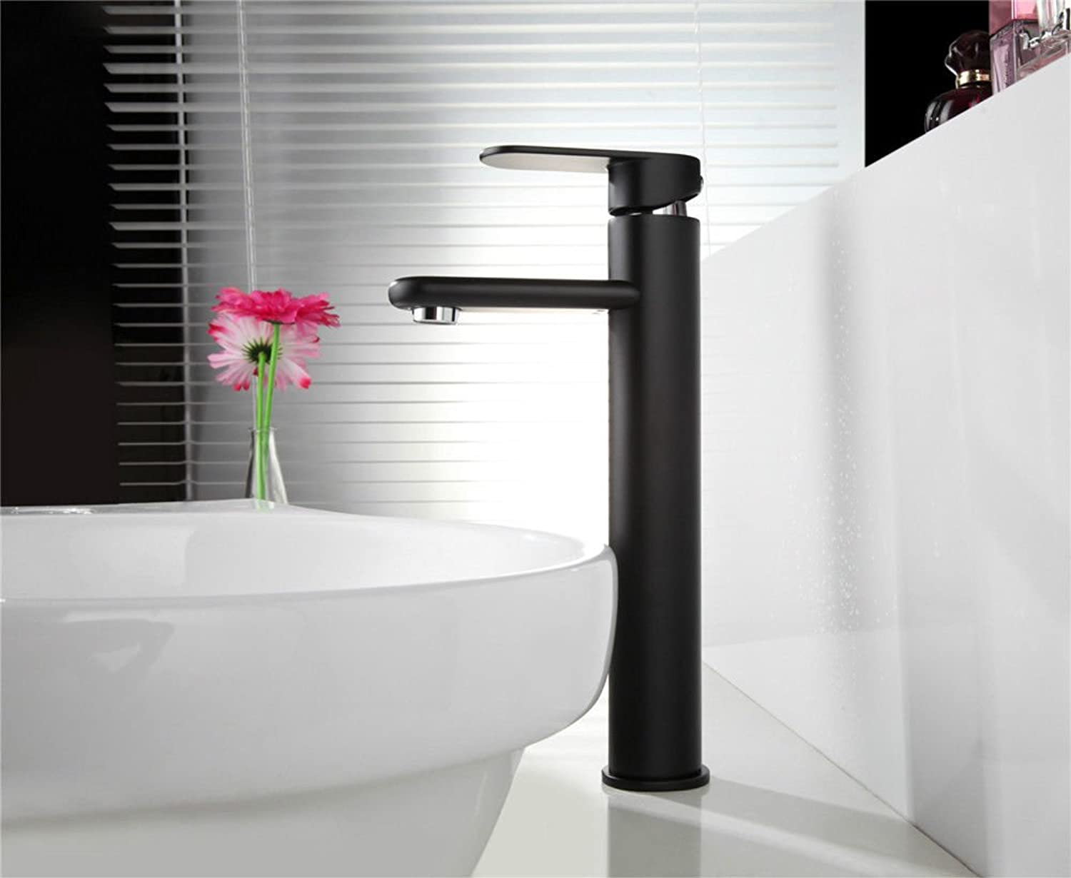 Basin Faucet Frosted Paint Faucet hot and Cold Water Faucet Black Matte Round Long Mouth Single Hole Single Handle