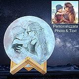 ACED Lampada lunare 3d personalizzata con foto e testo, Lampada luna romantico led personalizzata 3 colori, idee regali personalizzati per lei a Natale e Anniversario e San Valentino, 4.8inch