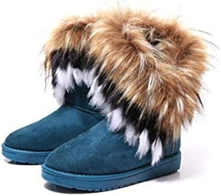 Fashion Women's s Winter New Snow s in The Tube Imitation Fox Hair Ladies Cotton s Comfortable Warm Women's s