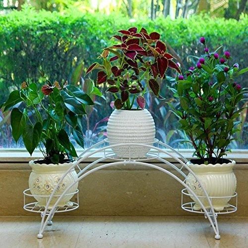 LLLXUHA Art de fer métal Multi-couche Support de fleurs, européen Multifonction Type de plancher Présentoir, balcon Plantes charnues Étagère à fleurs,22*80*31cm , Blanc