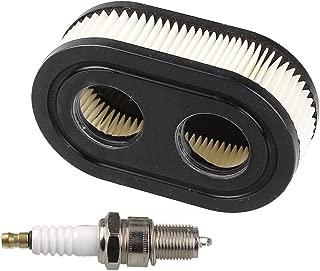 HIPA Oval Air Filter with Spark Plug for Troy-Bilt TB110 TB115 TB200 TB230 TB330 TB370 Walk-Behind Lawn Mower