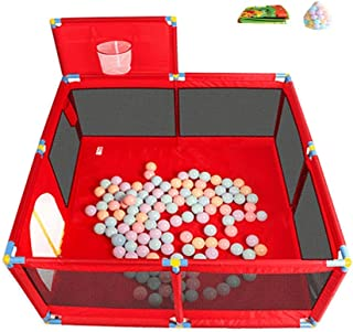 XHJYWL Playpen Baby Indoor Shooting Fence 8-Panel Play Yard Children s Play Pen with 200 Balls  66cm Tall  Color RED