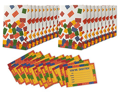 16 Pack Building Blocks Birthday Party Invitations & Goodie Bags - Boys Fill in Style Invites & Treat Bags - Includes 16 Invitations & 16 Bags - 4 x 6 Inches & 6 x 9.5 Inches