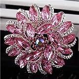 Urberry Crystal Diamond Flower Brooch Pin for Women Girls Brides (Pink)