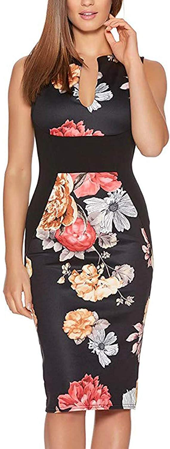 Fantaist Women's Omaha Mall Sleeveless Deep V Print Pa A surprise price is realized Cocktail Neck Floral