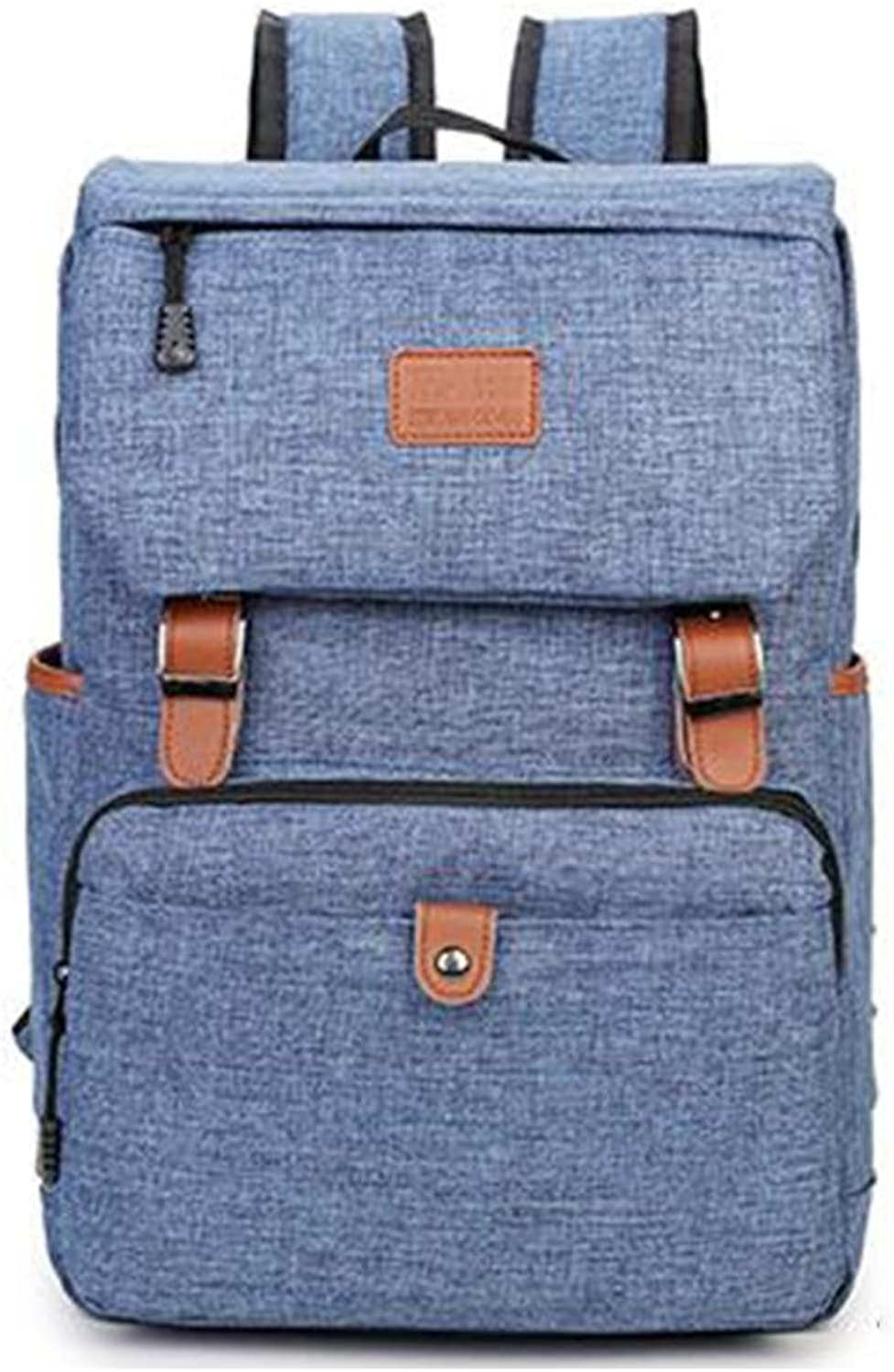 SUN Computer Backpack Student Travel Leisure Male Canvas 15 Inch Computer (color   bluee)