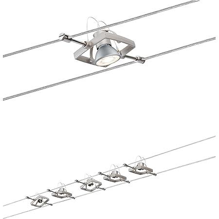 Paulmann 94135 Système de câbles Set Mac II, max. 5x10W, GU5,3 Nickel satiné, 230/12V, 60VA, Métal