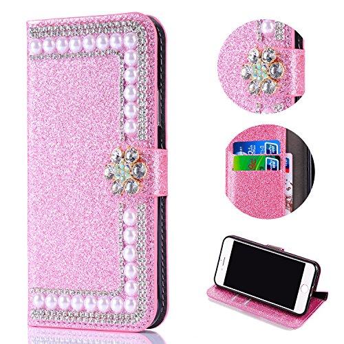 Shinyzone Glitzer Brieftasche Hülle für Samsung Galaxy S8 Plus,3D Blume Diamant Strass Magnetverschluss PU Leder mit Kartenfach,Kratzfest Stoßfest Silikon Bumper Handyhülle,Rosa