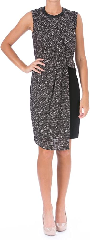 DKNYC Women's Sleeveless Wrap Dress w/Ponte Skirt and Faux Leather Trim, Storm Grey Combo/Black, 0