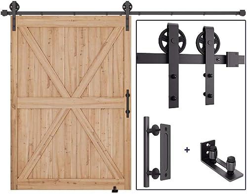 "new arrival 10FT outlet sale Heavy Duty popular Sliding Barn Door Hardware Kit(Wheel Shape) + Barn Door Bottom Adjustable Floor Guide Roller + 12"" Pull and Flush Barn Door Handle Set outlet sale"