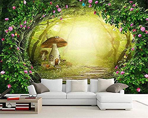 XHXI Plant Landscape Rose Flower Vine Forest Home Decor for Living Room Sofa Tv Background Bedroom Wall Decoration 3D Wallpaper Paste Living Room The Wall for Bedroom Mural border-430cm×300cm