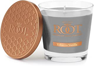Root Candles Honeycomb Veriglass Scented Beeswax Blend Candle, Small, Tobacco Vanilla