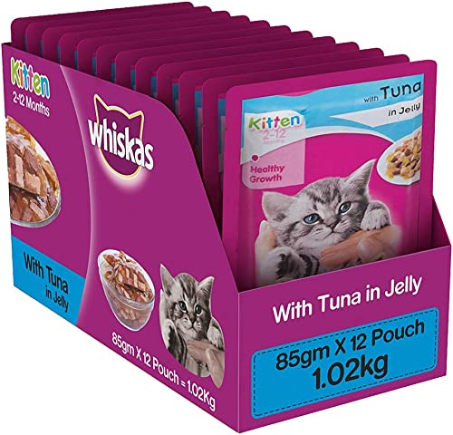 Whiskas Kitten (2-12 months) Wet Valentines Gift Cat Food, Tuna in Jelly, 12 Pouches (12×85g) product image