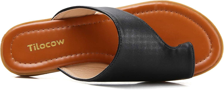 Tilocow Bunion Sandals For Women Comfort Bunion Corrector Flat Shoes Orthopedic Toe Ring Slides Flip Flops