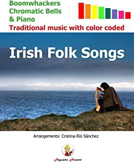 Irish Folk Songs: Boomwhackers, Chromatic Bells & Piano. Traditional music with color coded.