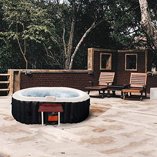ALEKO HTIO2BKW Oval Inflatable Hot Tub Spa with Drink Tray and Cover, 2 Person Portable Hot Tub - 145 Gallon Black and White