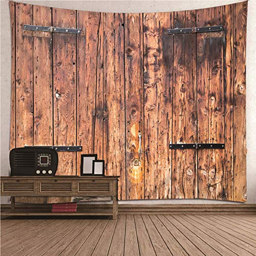 Daesar Tapices Decorativos Pared,Patrón con Tablero de Madera Tapiz Grande Tapicería Tela Poliéster Marrón 350x256CM(Ancho x Altura)