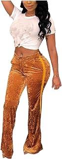 DressU Women's High Rise Ribbon Velvet Wide Leg Solid Color Pants