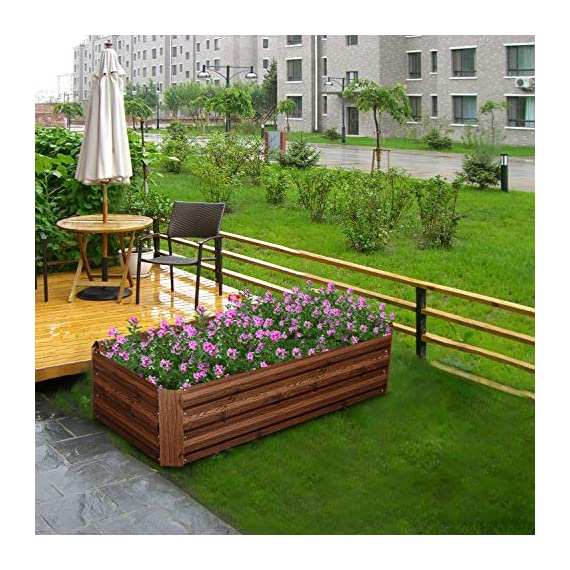 """Outdoor 2x2 ft metal raised garden bed patio frame planters box for vegetables/flower/ 2 size:47. 24""""(l)x47. 24""""(w)x11. 81""""(h) easy to assemble the garden bed with anti-rust coating is made of galvanized steel last long time"""