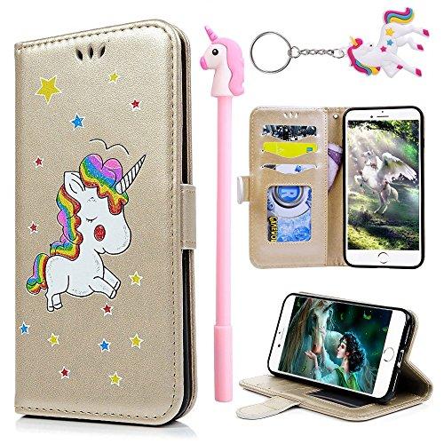 E-Mandala Funda Samsung Galaxy S6 Piel Unicornio Carcasa con Tapa Libro PU Cuero Leather Silicona Bumper Case Completa Protectora Folio Tarjetero - Oro