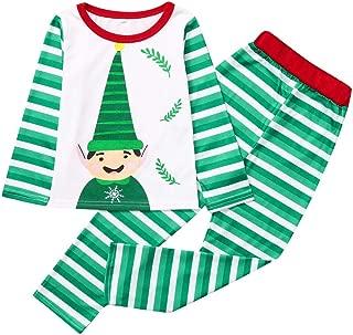 Matching Family Pajamas Christmas Striped Cartoon Small Fresh Printed Cute Hat Pattern T-Shirt + Pants Home