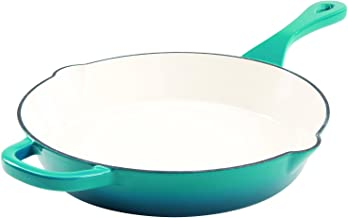Crock Pot 111988.01 Artisan 12 Inch Enameled Cast Iron Round Skillet, Teal Ombre