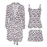 Nanette Lepore 3 Piece Womens Pajama Set with Robe Tank Top and Lounge Pajama Shorts - Sle...