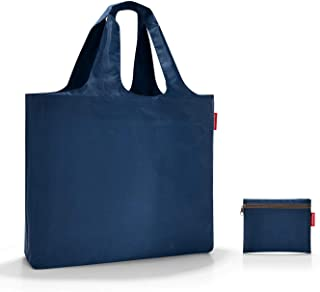 reisenthel Mini Maxi Beachbag, Foldable and Spacious Lightweight Tote Bag with Zippered Pouch, Water-Repellent, Dark Blue (Blue) - AA4059