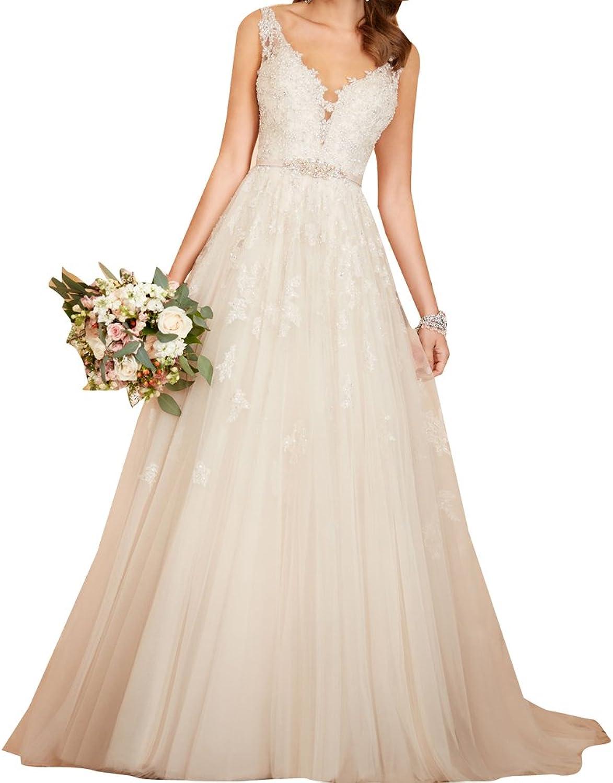 LISA.MOON Women's Sweetheart A Line Lace Applique Open Back Tulle Wedding Dress