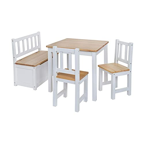 BABYDAY Ensemble Table et chaises pour Enfants 1 Table, 2 chaises, 1 Banc Coffre   Kit Complet de Meubles pour Enfants, Banc avec Espace de Rangement Inclus   4 Couleurs au Choix -> NW