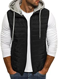 CNJFJ Mens Removable Hoodie Down Vest Winter Warm Zip Up Quilted Puffer Outerwear Jacket Gilet