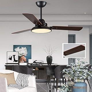 Luz del ventilador De Techo LED Sala Candelabro, Restaurante De Energía Eólica De Tres Velocidades Con Control De Velocidad y Control De Pared Con Ventilador De Techo De Madera De 3 Palas 24W (Negro)