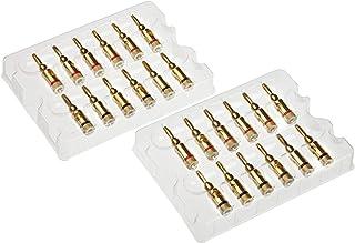 AmazonBasics 24k gouden connector banaanstekkers, 12 rood/12 zwart, 24 stuks per verpakking