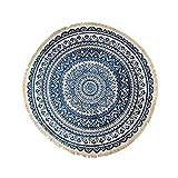 alfombra RUI Redonda Mandala Estilo Boho Impreso con Rayas Chic Antideslizante Lavable En La Lavadora Suelo del Sofá Interior Hecho A Mano (Color : Blue, Size : 70cm*70cm)