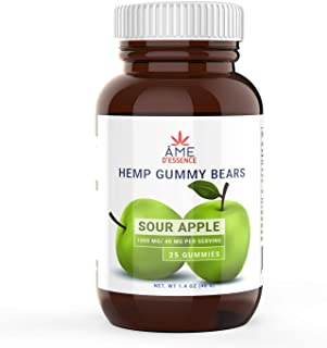 (1000mg) Premium Natural Hemp Sour Apple Gummies for Stress Anxiety Relief Immune Support Brain Heart Health Inflammation Relief Promotes Sleep Calm Mood Made in USA by ame d'essence