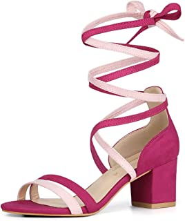 Allegra K Women's Open Toe Color Block Heel Lace Up Sandals