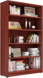 Sunon Collection 5-Shelf Wood Bookcase Freestanding Display Bookshelf for Home and Office, Assembly Required (Cherry)