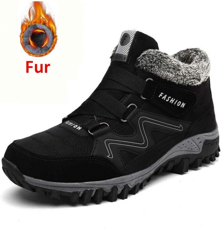 FHCGMX Winter Men Suede Working Warm Ankle Boots Men Leather Male Winter Men Ankle Boots Cowboy Waterproof
