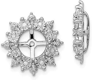 14mm x 14mm Mia Diamonds 925 Sterling Silver Garnet Earring Jacket