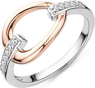 Miore 女式 925 纯银圆形方晶锆石戒指