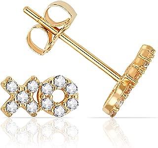 Jewels Company CZ Cubic Zirconia XO Stud Earrings in Solid 14K Yellow Gold