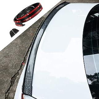 LucaSng Universal Black Carbon Fiber Trunk Spoiler Lip Kit Car Rear Spoiler Exterior Rear Spoiler Kit Universal Fits for M...