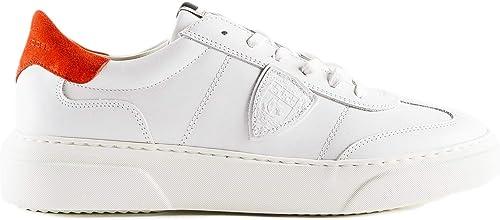 Philippe Model blanco Temple Turnzapatos In Calf Leather Bianco rojo Balu V022