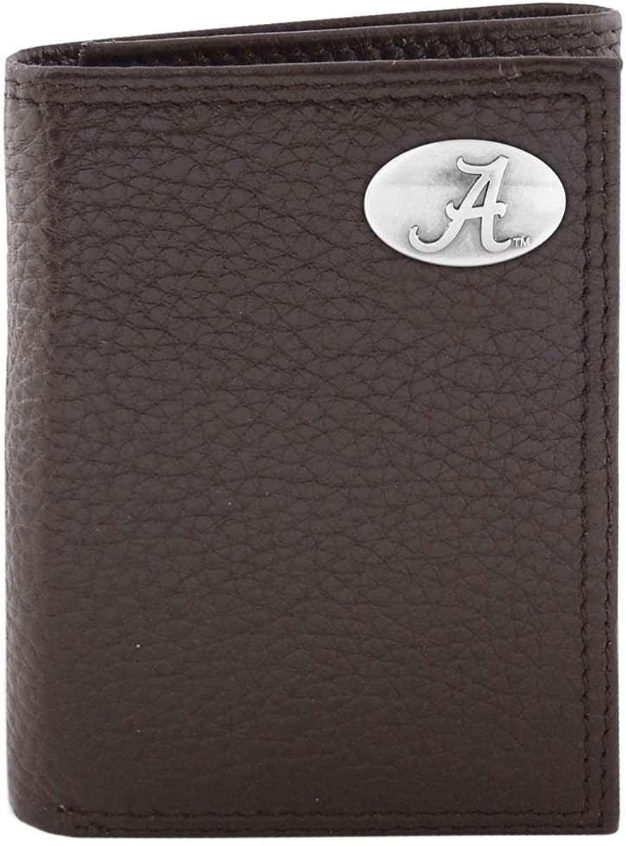 ZEP-PRO NCAA Limited time cheap sale Alabama Crimson Tide Pebble C Super popular specialty store Leather Trifold Grain