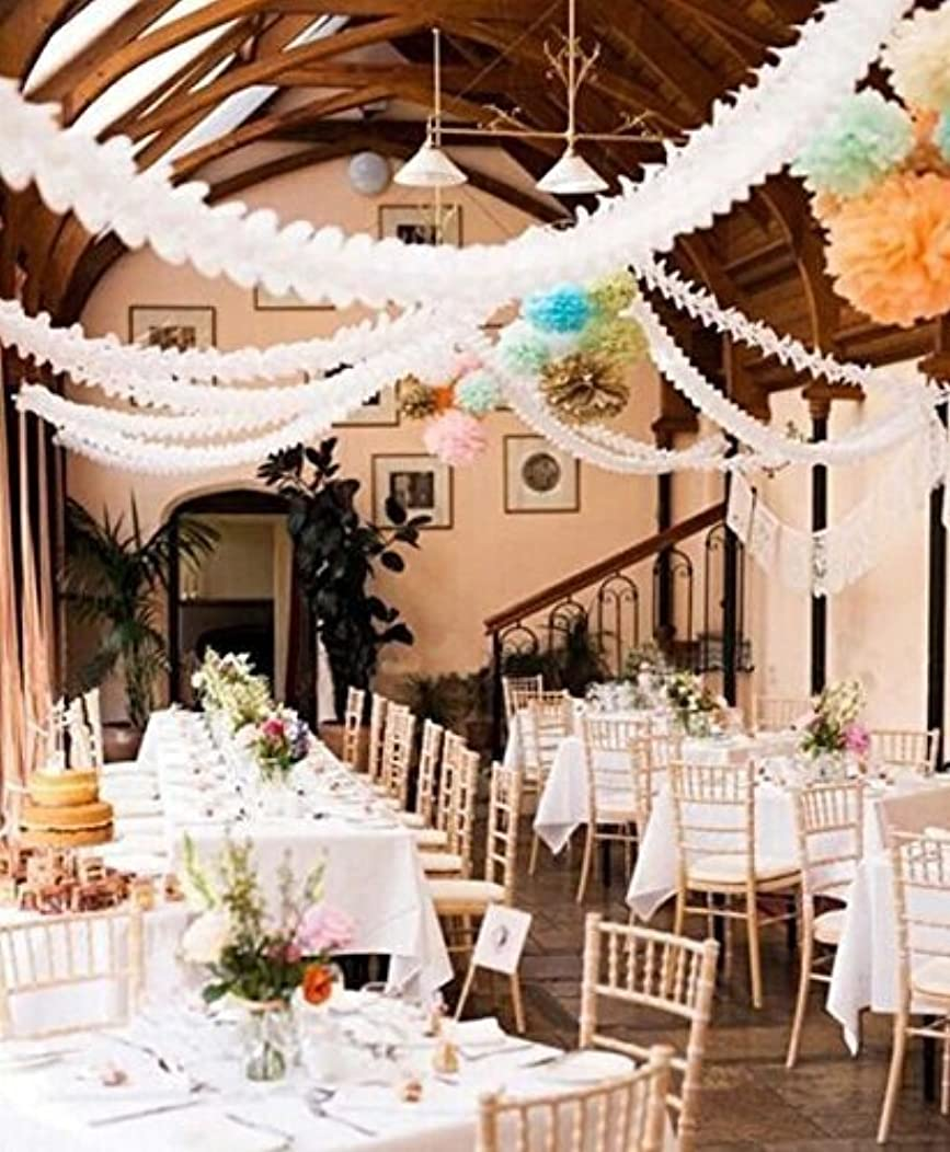 Hanging Garland Four-Leaf Clover Garland Tissue Paper Flower Garland Reusable Party Streamers for Party Decorations Wedding Decorations, 11.81 Feet/3.6M Each, Pack of 6(White)